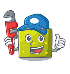 plumber square mascot cartoon style vector image