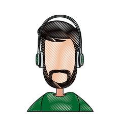 Portrait man with headphones icon vector