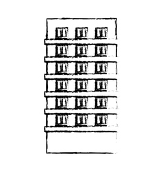 Profile apartment building line sticker vector
