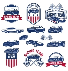 racing team set cars icons vector image
