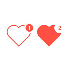 red hearts icons like notification vector image