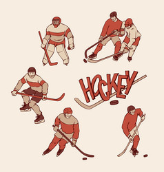 retro set hockey player and goalkeeper in sports vector image