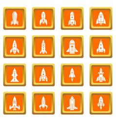 rocket icons set orange square vector image