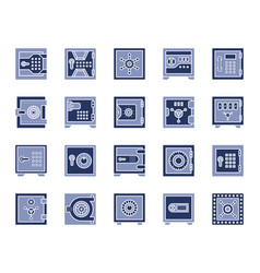 safe bank cell simple color flat icons set vector image