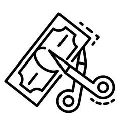 Scissors cut money icon outline style vector