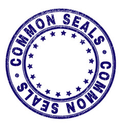 Scratched textured common seals round stamp seal vector
