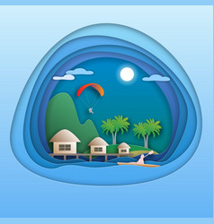 sea resort with bungalows island with palm trees vector image