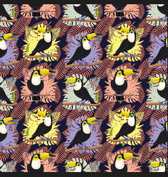 seamless pattern with birds toucans vector image
