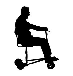 Senior man on electric bicycle walker silhouette vector