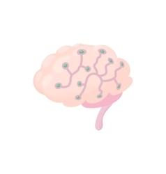 Sensors on human brain icon cartoon style vector