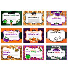 Set cute halloween invitations vector