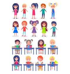 Set of schoolchildren sitting at desks isolated vector