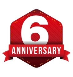 Six year anniversary badge with red ribbon vector