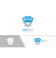 Sofa and gear logo combination couch vector