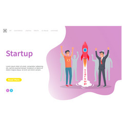 Startup launching rocket people with craft vector
