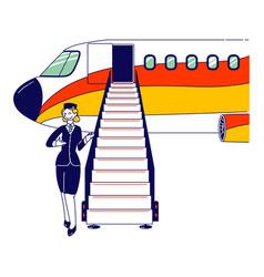 Stewardess character flight attendant air vector