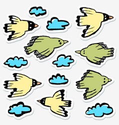 stickers set with birds and clouds collection of vector image