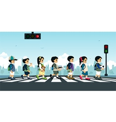 Students walking on a crosswalk vector image