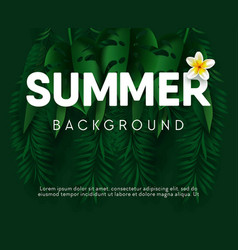 Summer background for banner with palm leaves and vector
