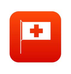 switzerland flag icon digital red vector image