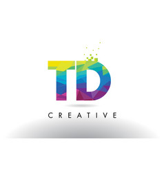 Td t d colorful letter origami triangles design vector