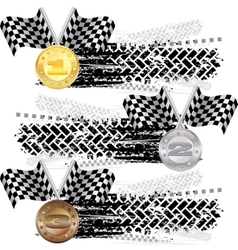 Tire track with medals vector image