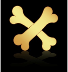 Two gold bones on a black background vector