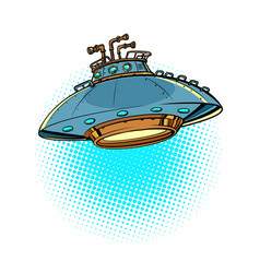 ufo flying saucer isolated on a neutral background vector image