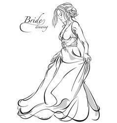 walking bride vector image