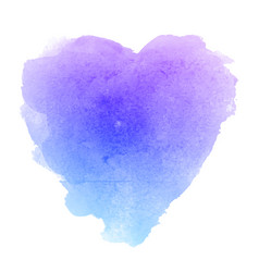 Watercolor blue paper texture heart shaped stain vector