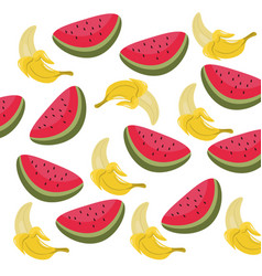 watermelon and banana summer pattern vector image