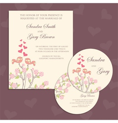 Wedding cards with birds vector