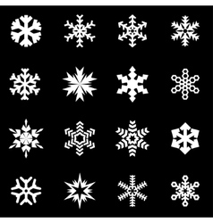 white snowflake icon set vector image