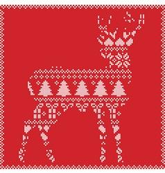 Winter deer on red background vector