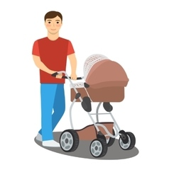 young father with a bastroller vector image