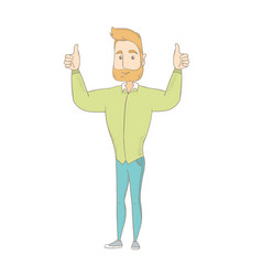 Young hippie man standing with raised arms up vector