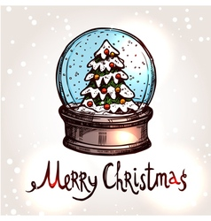 Christmas Card With Hand Drawn Snowglobe vector image vector image