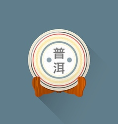 flat puer tea on stand icon vector image vector image