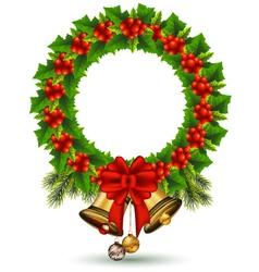 beauty Holly Christmas frame vector image