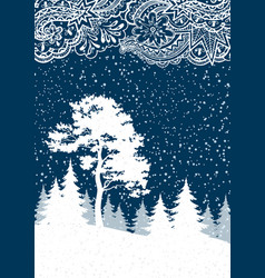christmas winter forest landscape vector image vector image