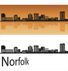 Norfolk skyline in orange background in editable vector image vector image