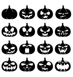 set of halloween pumpkins vector image vector image