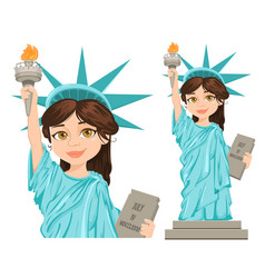 statue of liberty july 4th independence day cute vector image vector image