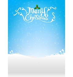 Merry christmas text with snow bakcground eps10 vector image vector image