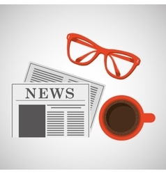 news paper cup coffee and glasses design vector image