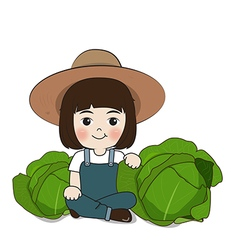 planter and cabbage vector image