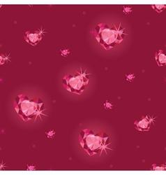 Ruby heart diamonds seamless pattern background vector image
