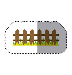 sticker colorful picture wooden fence and grass vector image vector image