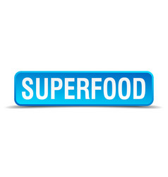 superfood blue 3d realistic square isolated button vector image vector image