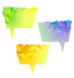 yellow speech bubbles with triangles vector image vector image
